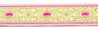 10m Brokat Borte Webband 16mm breit Farbe: Weiss-Pink-Lurexgold
