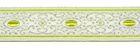 10m Brokat Borte Webband 16mm breit Farbe: Weiss-Olive-Lurexsilber