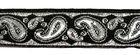 10m Brokat Borte Webband 16mm breit Farbe: Schwarz-Lurexsilber