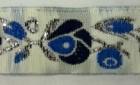 10m Borte Blumen 17mm breit Farbe: Blau-Weiss-Silber