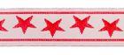 10m Borte Webband 11mm breit Sterne Farbe: Rot