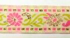 10m Borte Blumen 17mm breit Farbe: Pink-Weiss-Gold