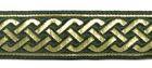 10m Mittelalter Borte 20mm breit Farbe: Dunkelmoosgrün-Gold