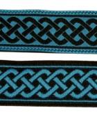10m Mittelalter Borte 20mm breit Farbe: Schwarz-Türkis