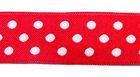 10m Webband Borte Applikation 12mm breit Punkte Farbe: Rot