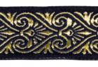 10m Mittelalter Borte Webband 16mm breit Farbe: Dunkelblau-Gold