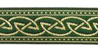10m Keltischer Knoten Webband Borte 22mm breit Farbe: Dunkelgrün-Gold