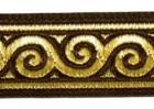 10m Jacquard Borte Webband Stoff 22mm breit Farbe: Braun-Gold