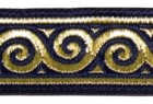 10m Jacquard Borte Webband Stoff 22mm breit Farbe: Dunkelblau-Gold