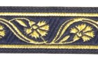 10m Mittelalter Borte Webband 22mm breit Farbe: Dunkelblau-Gold
