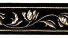 10m Mittelalter Borte Webband 22mm breit Farbe: Schwarz-Silber