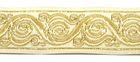10m Brokat Borte Webband 35mm breit Farbe: Beige-Gold