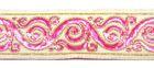 10m Brokat Borte Webband 35mm breit Farbe: Beige-Pink-Gold