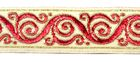 10m Brokat Borte Webband 35mm breit Farbe: Beige-Rot-Gold