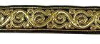 10m Brokat Borte Webband 22mm breit Farbe: Gold-Schwarz