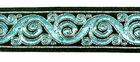 10m Brokat Borte Webband 22mm breit Farbe: Schwarz-Filosa-Silber