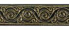 10m Brokat Borte Webband 22mm breit Farbe: Schwarz-Gold