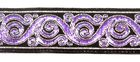 10m Brokat Borte Webband 22mm breit Farbe: Schwarz-Lila-Silber