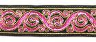 10m Brokat Borte Webband 22mm breit Farbe: Schwarz-Pink-Gold