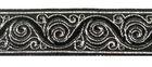 10m Brokat Borte Webband 22mm breit Farbe: Schwarz-Silber