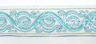 10m Brokat Borte Webband 35mm breit Farbe: Weiss-Blau-Silber