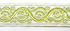 10m Brokat Borte Webband 22mm breit Farbe: Weiss-Grün-Silber
