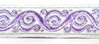 10m Brokat Borte Webband 22mm breit Farbe: Weiss-Lila-Silber
