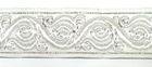 10m Brokat Borte Webband 35mm breit Farbe: Weiss-Silber