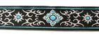 10m Brokat Borte Webband 35mm breit Farbe: Schwarz-Blau-Lurexsilber