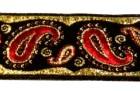 10m Brokat Borte Webband 22mm breit Farbe: Schwarz-Rot-Lurexgold