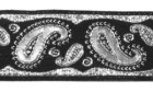10m Brokat Borte Webband 22mm breit Farbe: Schwarz-Lurexsilber
