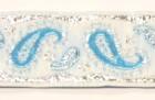 10m Brokat Borte Webband 22mm breit Farbe: Weiss-Blau-Lurexsilber