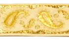 10m Brokat Borte Webband 22mm breit Farbe: Weiss-Lurexgold