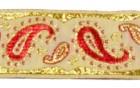 10m Brokat Borte Webband 22mm breit Farbe: Weiss-Rot-Lurexgold