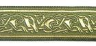 10m Mittelalter Borte Webband 25mm breit Farbe: Moosgrün-Gold