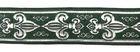10m Französische Lilie Borte 25mm breit Dunkelgrün-Silber