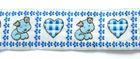10m Borte Webband Hund und Herz 25mm breit Farbe: Weiss-Blau