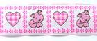 10m Borte Webband Hund und Herz 25mm breit Farbe: Weiss-Rosa