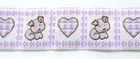 10m Borte Webband Hund und Herz 25mm breit Farbe: Weiss-Violett