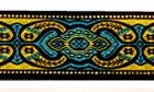 10m Mitelalterborte Webband 25mm breit Farbe: Schwarz-Gold-Blau