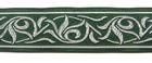 10m Renaissance Fleur Borte Webband 35mm breit Farbe: Dunkelgrün-Silber