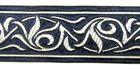 10m Renaissance Fleur Borte Webband 35mm breit Farbe: Dunkelblau-Silber