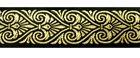 10m Mittelalter Borte Webband 35mm Farbe: Schwarz-Gold