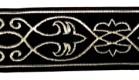 10m Mittelalter-Borte 35mm breit Schwarz-Silber