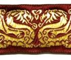 10m Drachen-Borte 35mm breit Bordeaux-Gold
