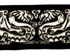 10m Drachen-Borte 35mm breit Schwarz-Silber