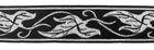 10m Elbenblatt Borte Webband 35mm breit Farbe: Schwarz-Silber