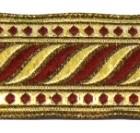 10m Brokat Borte Webband 35mm breit Farbe: Bordeaux-Lurex-Gold