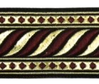 10m Brokat Borte Webband 35mm breit Farbe: Schwarz-Bordeaux-Lurex-Gold