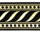 10m Brokat Borte Webband 35mm breit Farbe: Schwarz-Schwarz-Lurex-Gold